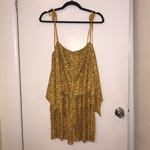 ASOS Gold Ditsy Floral Pleated Romper